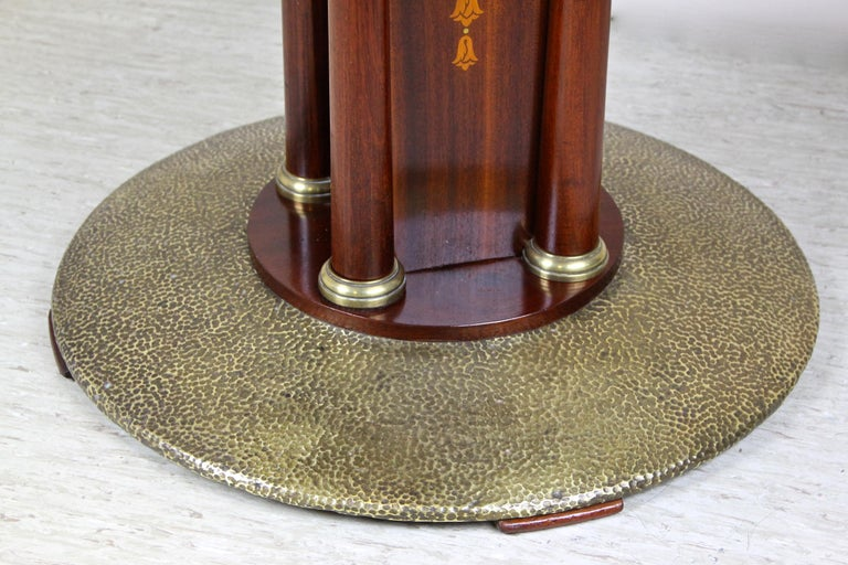 Art Nouveau Mahogany Gaming Table with Hammered Brass Base, Austria, circa 1910 For Sale 3