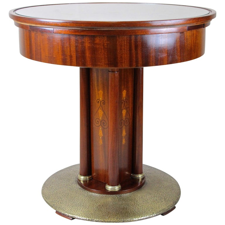 Art Nouveau Mahogany Gaming Table with Hammered Brass Base, Austria, circa 1910 For Sale