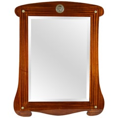 Art Nouveau Mahogany Wall Mirror with Facet Cut, Austria, circa 1900