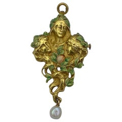 Art Nouveau Maiden Woman Rose Flower Enamel Pendant Brooch Necklace Pearl Gold