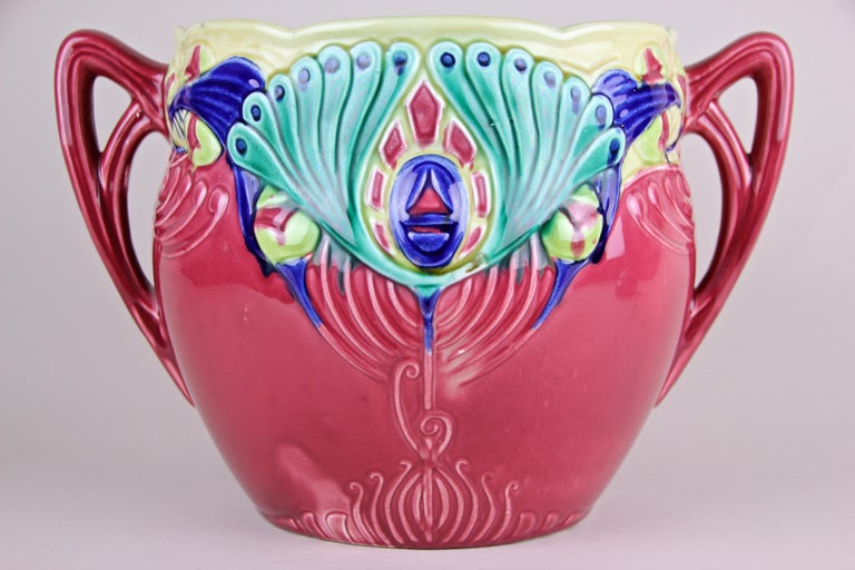 20th Century Art Nouveau Majolica Cachepot Marked, France, circa 1910 For Sale