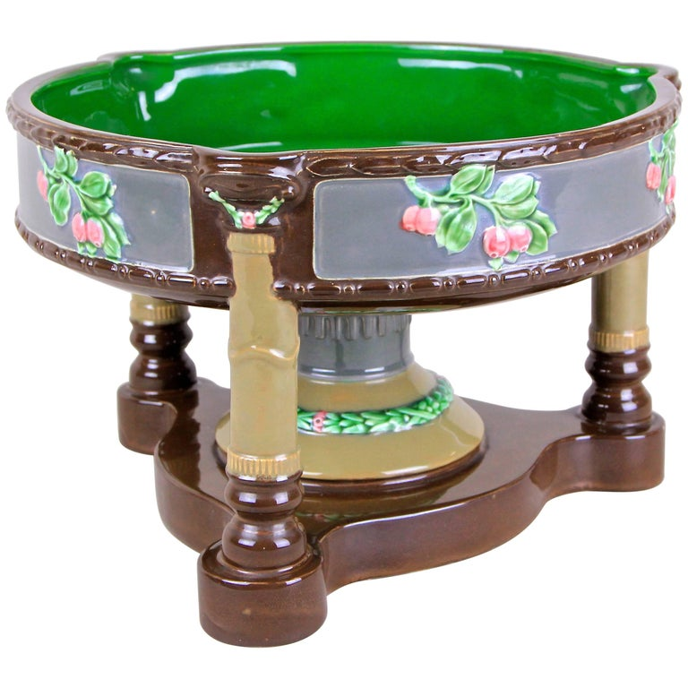 Beautiful rare Art Nouveau Majolica centerpiece made by the renown company of Eichwald around 1910 in Bohemia. Eichwald majolica items are well known for their very own design and colors. This great shaped, large centerpiece sits on an artfully