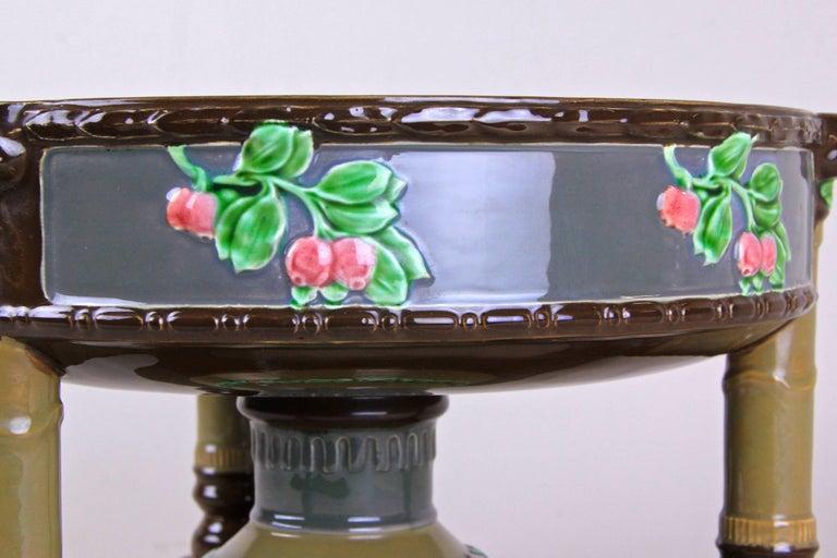 Czech Art Nouveau Majolica Centerpiece Bowl by Eichwald, Bohemia, circa 1910 For Sale