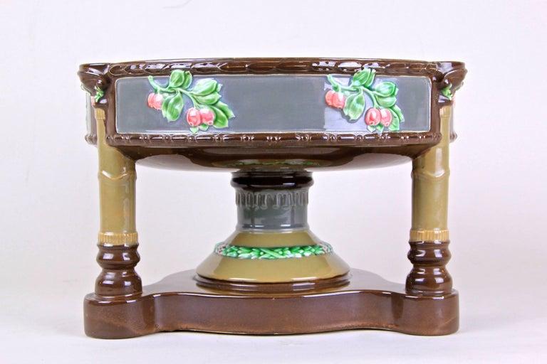 Hand-Painted Art Nouveau Majolica Centerpiece Bowl by Eichwald, Bohemia, circa 1910 For Sale