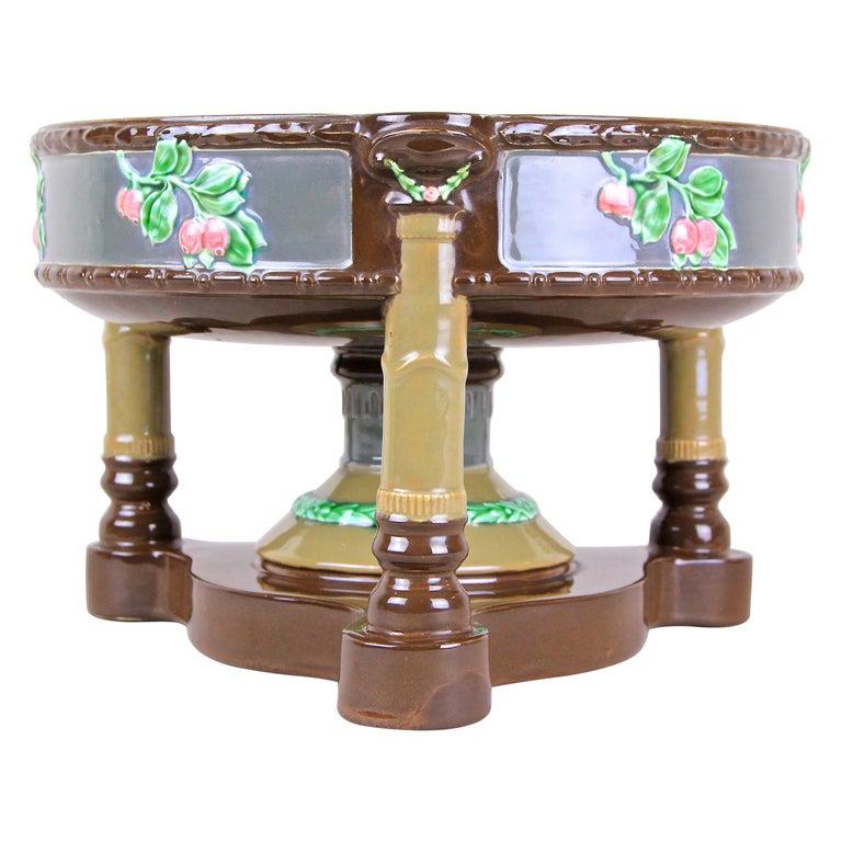 Art Nouveau Majolica Centerpiece Bowl by Eichwald, Bohemia, circa 1910 For Sale