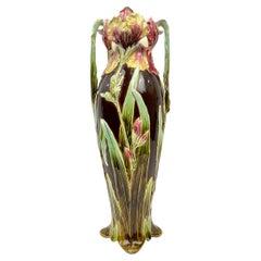Art Nouveau Majolica Large Vase, 23-ins., Sarreguemines, French, ca. 1895