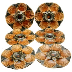Art Nouveau Majolica Oyster Plates (x6) by Sarreguemines