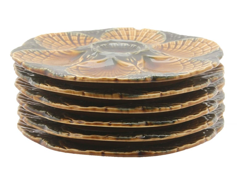 Glazed Art Nouveau Majolica Oyster Plates 'x6' by Sarreguemines For Sale