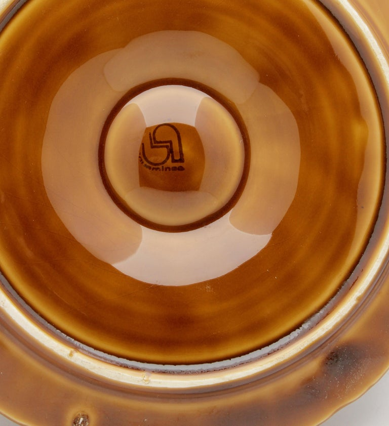 Mid-20th Century Art Nouveau Majolica Oyster Plates 'x6' by Sarreguemines For Sale