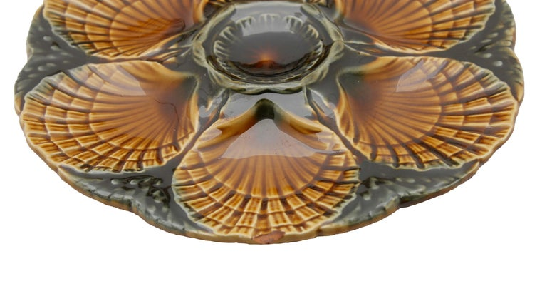 Art Nouveau Majolica Oyster Plates 'x6' by Sarreguemines For Sale 1