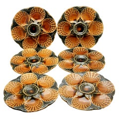 Art Nouveau Majolica Oyster Plates 'x6' by Sarreguemines