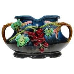 Art Nouveau Majolica Planter Figural with Grapes Decoration