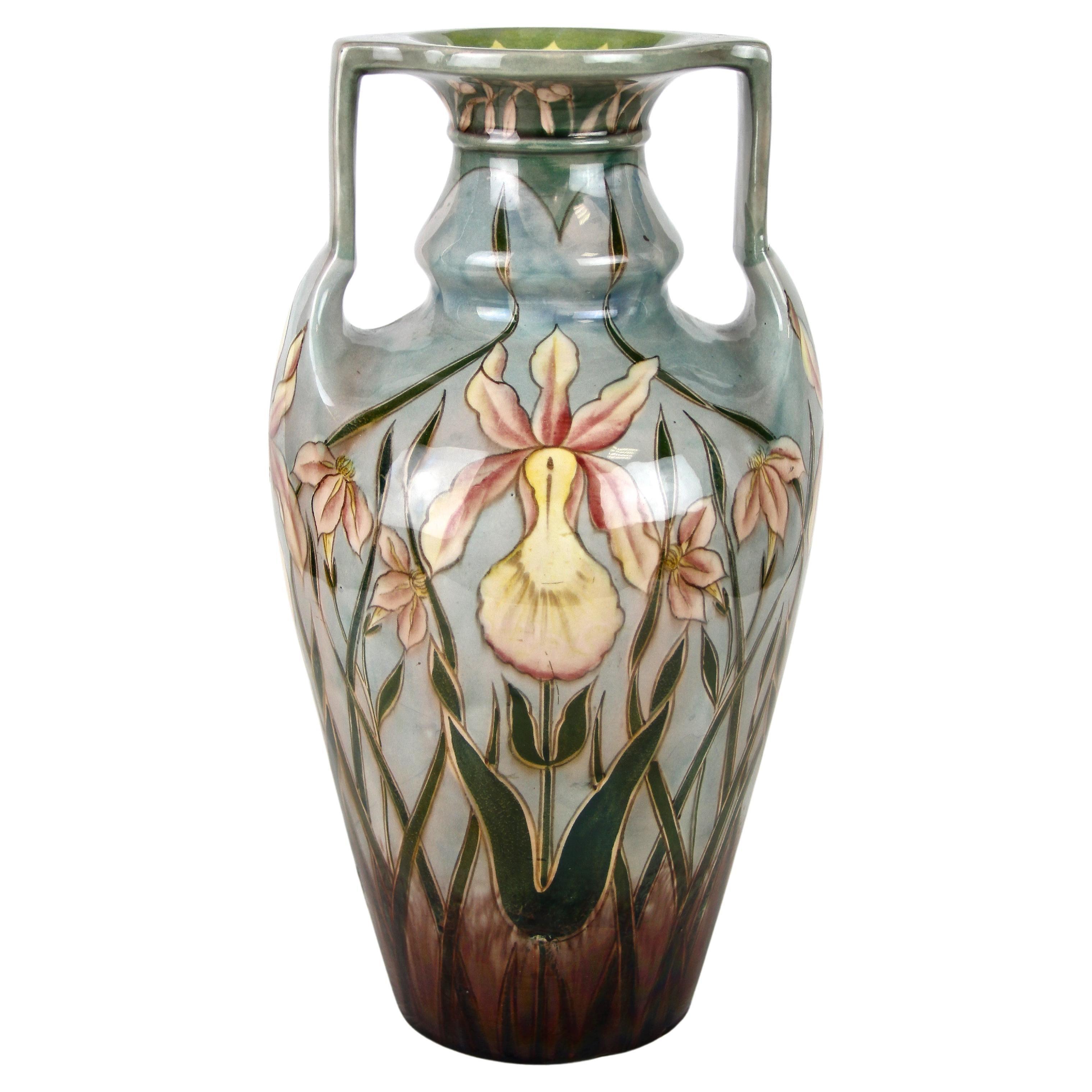 Art Nouveau Majolica Vase by Gerbing & Stephan, Bohemia circa 1910