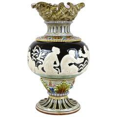 Art Nouveau Majolica Vase by Schuetz Blansko, CZ, circa 1900