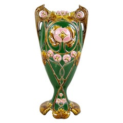 Art Nouveau Majolica Vase Hand Painted, France, circa 1900