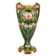 Art Nouveau Majolica Vase Hand Painted, France, circa 1900