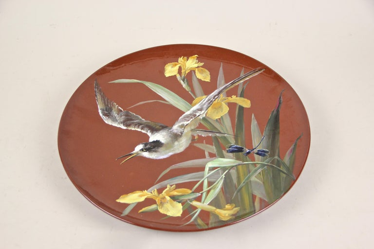 Art Nouveau Majolica Wall Plate by Minton, Hand Painted, England, circa 1910 For Sale 5