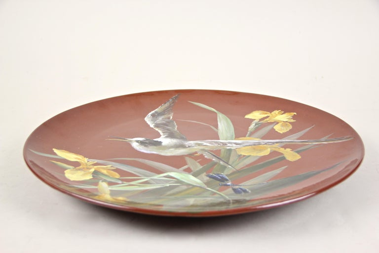 20th Century Art Nouveau Majolica Wall Plate by Minton, Hand Painted, England, circa 1910 For Sale