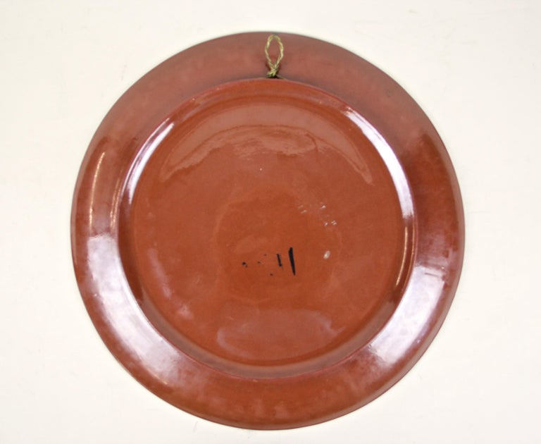 Art Nouveau Majolica Wall Plate by Minton, Hand Painted, England, circa 1910 For Sale 2