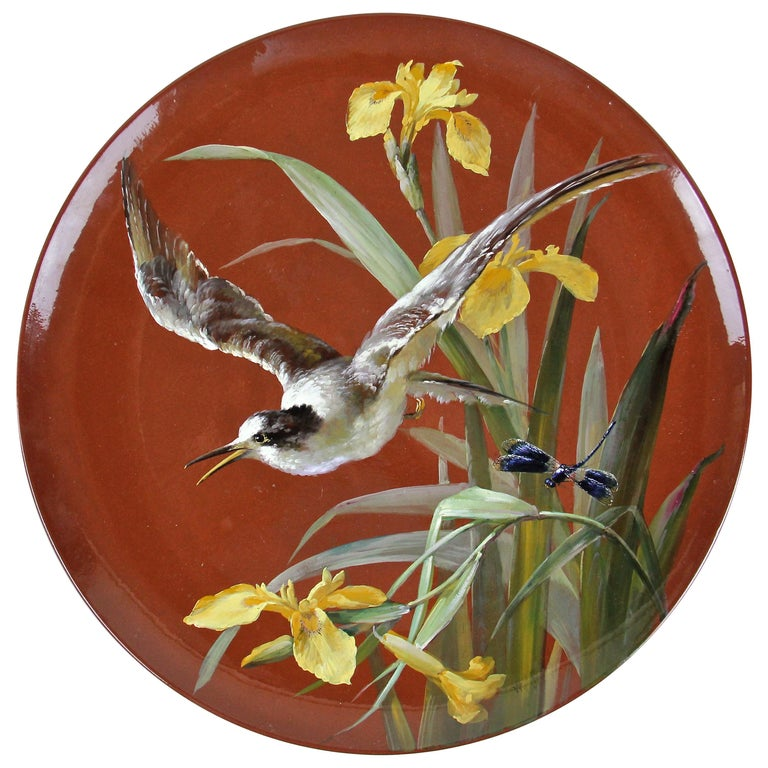 Art Nouveau Majolica Wall Plate by Minton, Hand Painted, England, circa 1910 For Sale