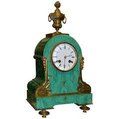 Art Nouveau Mantel Clock in Malachite