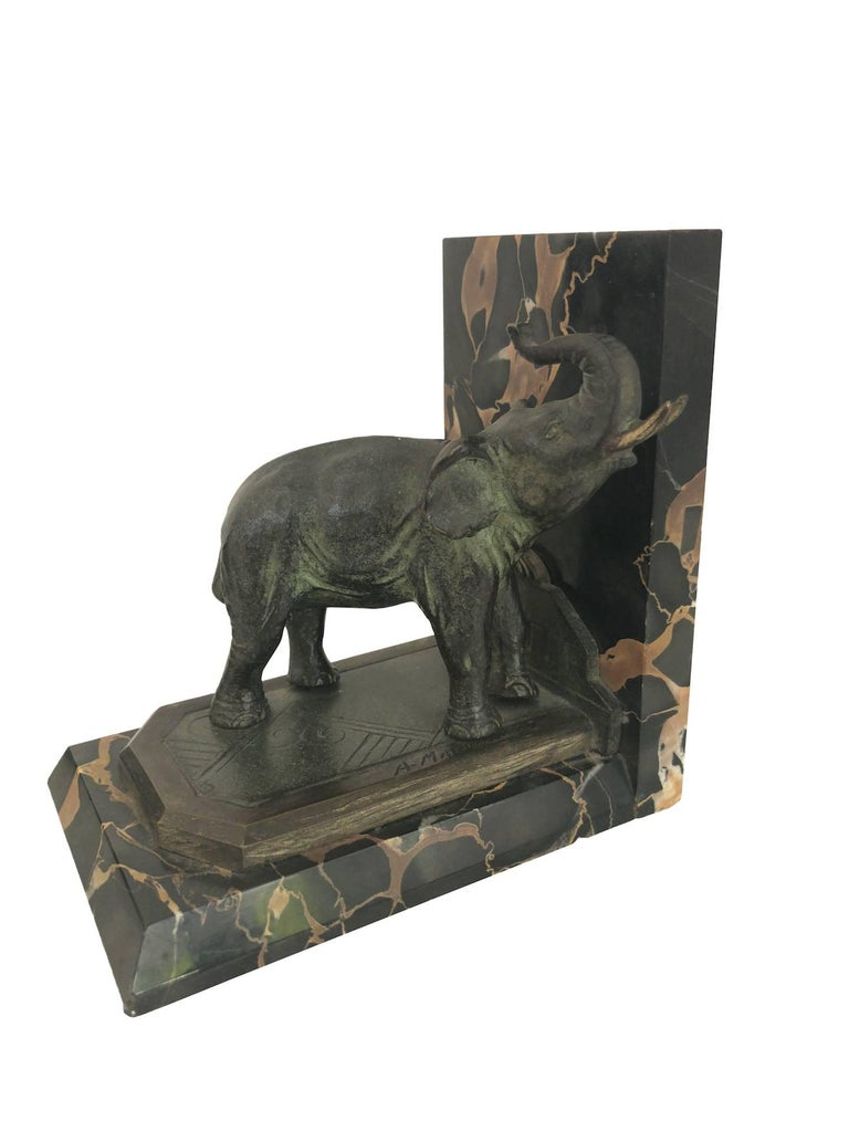 Art Nouveau Marble-Bookends with Bronze-Elephants by MARIONNET, France, 1900s For Sale 5