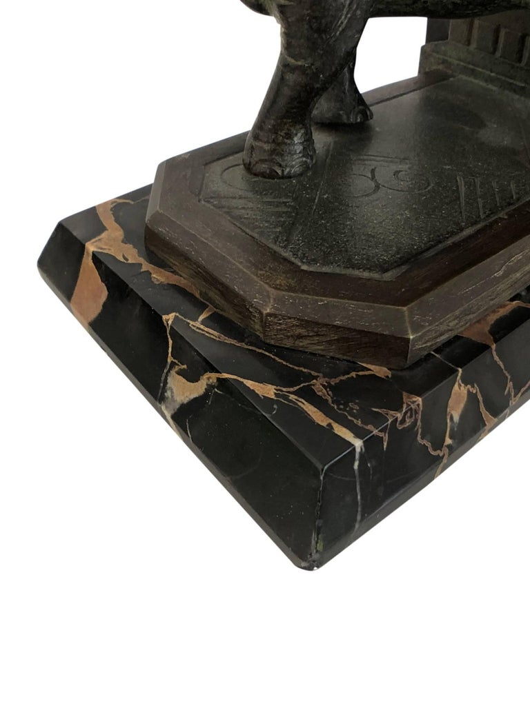 Art Nouveau Marble-Bookends with Bronze-Elephants by MARIONNET, France, 1900s For Sale 8