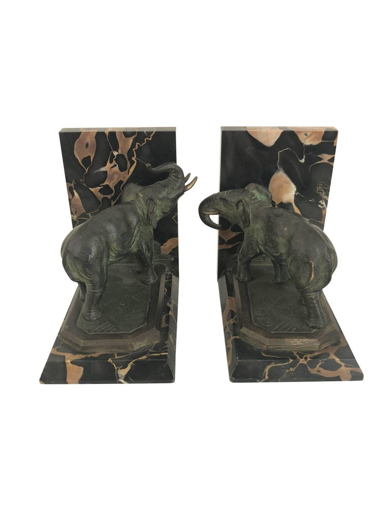 French Art Nouveau Marble-Bookends with Bronze-Elephants by MARIONNET, France, 1900s For Sale