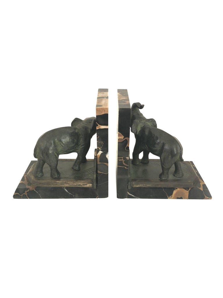 Early 20th Century Art Nouveau Marble-Bookends with Bronze-Elephants by MARIONNET, France, 1900s For Sale