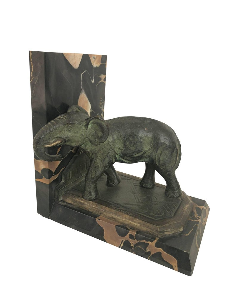 Art Nouveau Marble-Bookends with Bronze-Elephants by MARIONNET, France, 1900s For Sale 1