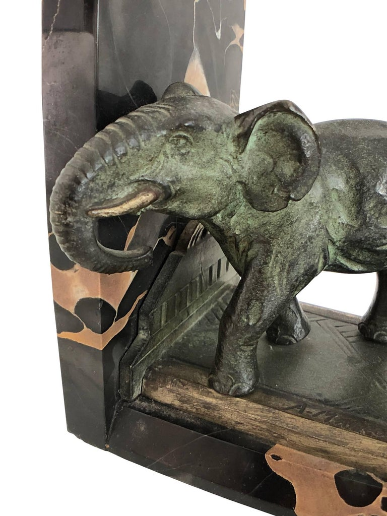 Art Nouveau Marble-Bookends with Bronze-Elephants by MARIONNET, France, 1900s For Sale 2