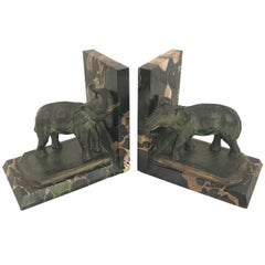 Art Nouveau Marble-Bookends with Bronze-Elephants by MARIONNET, France, 1900s