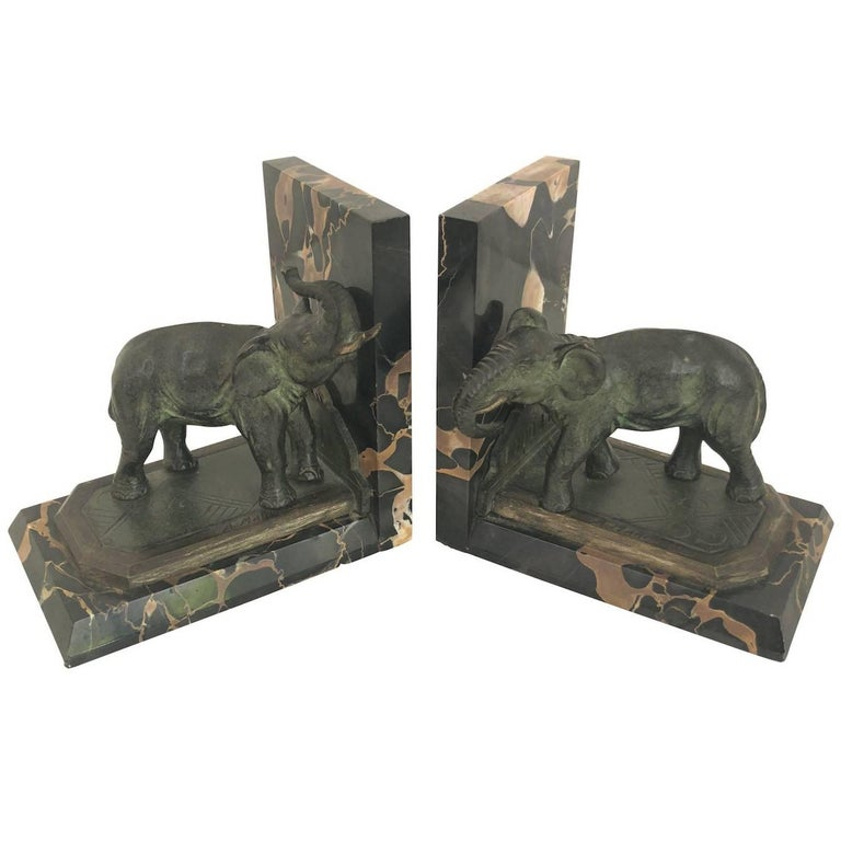 Art Nouveau Marble-Bookends with Bronze-Elephants by MARIONNET, France, 1900s For Sale