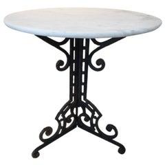 Art Nouveau Marble-Top Lamp Table