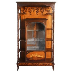 Art Nouveau Marquetry Inlaid Showcase, circa 1900