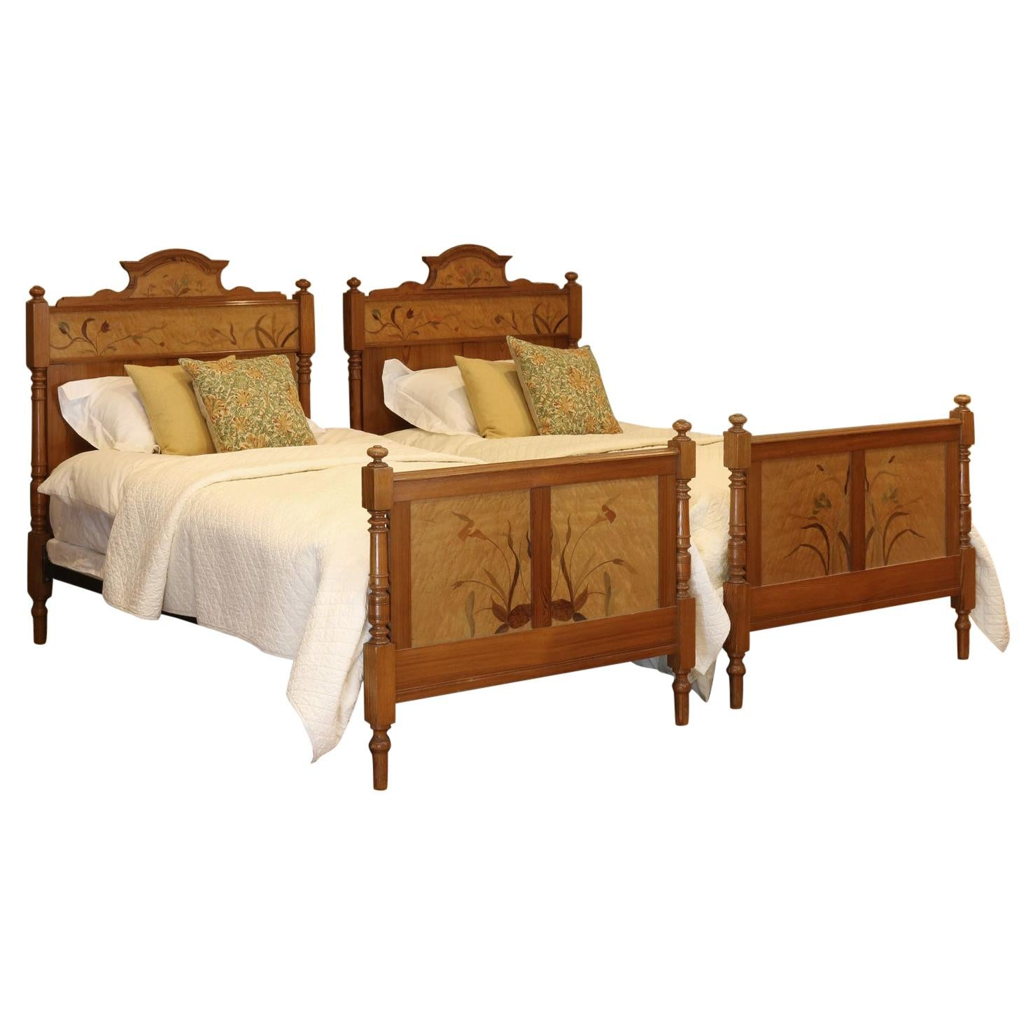Art Nouveau Matching Pair of Twin Single French Beds, WPS35