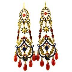 Art Nouveau Mediterranean Red Coral Enamel Yellow Gold Stud Drop Earrings