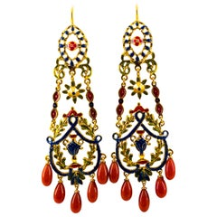 Art Nouveau Mediterranean Red Coral Enamel Yellow Gold Stud Drop Earrings