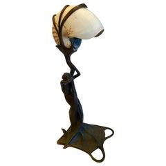 Art Nouveau Mermaid Lamp with Nautilus Shell Shade