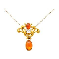 Art Nouveau Mexican Fire Opal Diamond 14 Karat Gold Whiplash Pendant Necklace