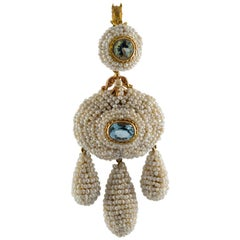 Art Nouveau Micro Pearl Blue Topaz Yellow Gold Pendant