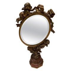 Art Nouveau Mirror with Bronze Putti Cherubs