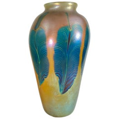 "Art Nouveau Monumental Favrile ""Peacock"" Art Glass Vase by, Tiffany Studios"