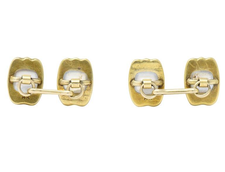 Art Nouveau Moonstone 14 Karat Gold Cufflinks In Excellent Condition For Sale In Philadelphia, PA