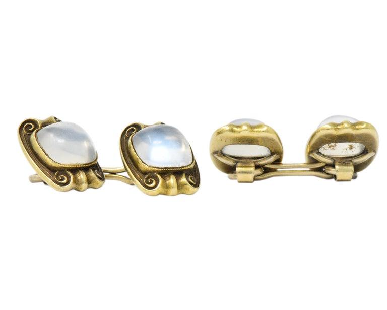 Women's or Men's Art Nouveau Moonstone 14 Karat Gold Cufflinks For Sale