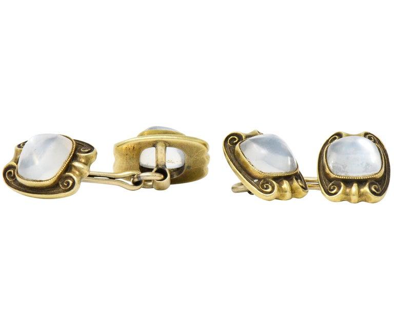 Art Nouveau Moonstone 14 Karat Gold Cufflinks For Sale 1