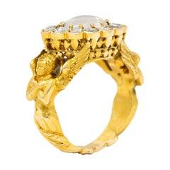 Art Nouveau Moonstone Diamond 18 Karat Gold Nike Mythological Victory Ring