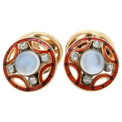 Art Nouveau Moonstone Diamond and Enamel Cufflinks, circa 1910