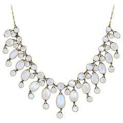 Art Nouveau Moonstone Festoon Link Necklace