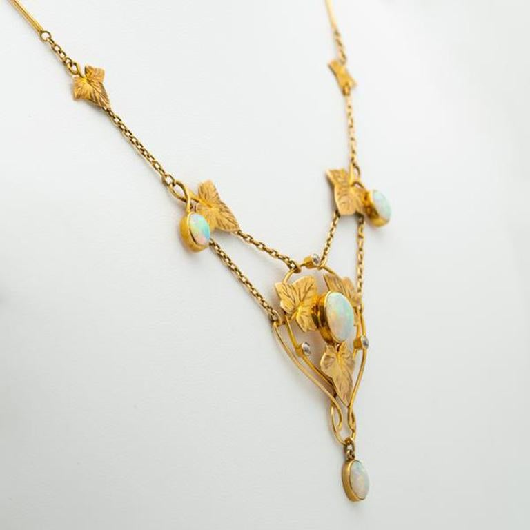Art Nouveau Murrle Bennett 15k YG and Australian Opal Necklace c.1910   Murrle, Bennett & Co.'s time in the sun may have been relatively brief, but between the years of 1884 and 1916 they produced some of the most stunning Art Nouveau jewelry to